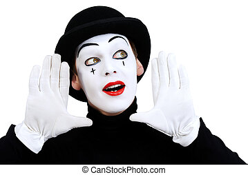 clown mime - Portrait of a male mime artist. Isolated over...