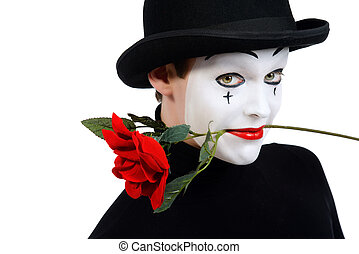 love mime - Emotional male mime artist with red rose...