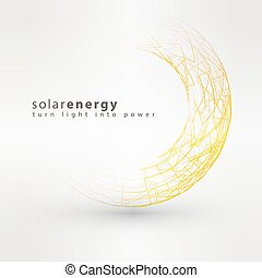 Sun icon made from power symbols. Solar energy logo design concept. Creative sign template.