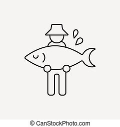 fisherman line icon