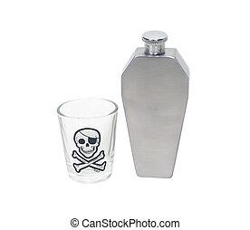 frasco, vidro, tiro, caixão