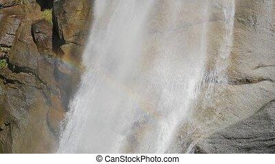 alpine waterfall - beautiful waterfall in the alps slow...