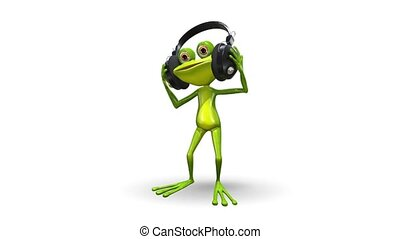 Dancing frog - Animation dancing green frog on white...