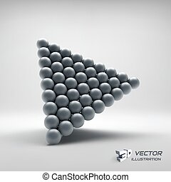 Pyramid of balls. 3d vector illustration. - Pyramid Of...