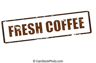 Fresh coffee - Rubber stamp with text fresh coffee inside,...