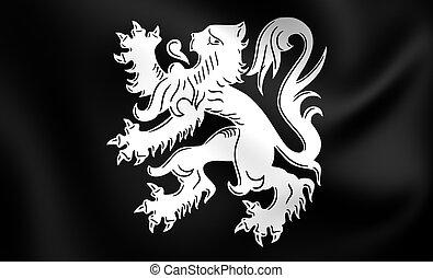 Flag of Asse, Belgium. - 3D Flag of the Asse, Belgium. Close...