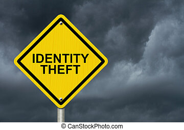 Identity Theft Warning Sign, Yellow warning road sign with...