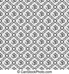 Black and White Aum Hindu Symbol Tile Pattern Repeat...