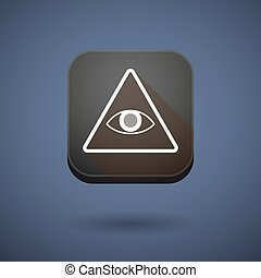 App button with an all seeing eye - Illustration of an app...