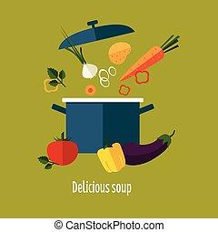 Recipe Vegetarian Vegetable Soup Illustration