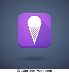 App button with a cone ice cream