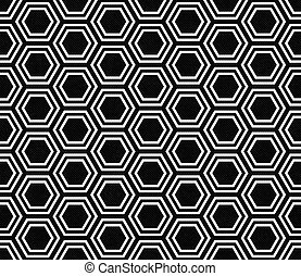 Black and White Hexagon Tile Pattern Repeat Background that...