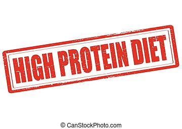 High protein diet - Rubber stamp with text high pro