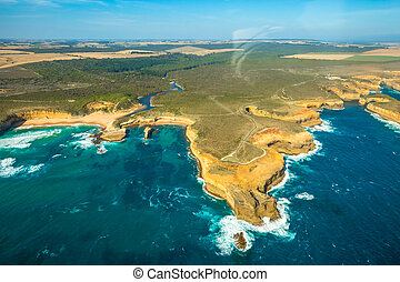 Port Campbell National Park - Aerial view of Loch Ard Gorge...