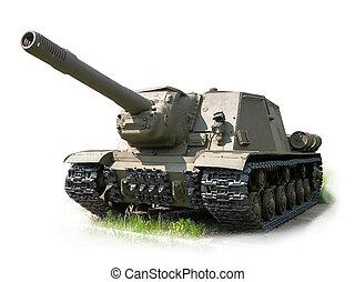Russian self-propelled artillery gun ISU152 isolated on...