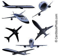 Collage of isolated black airplane - isolated collection of...