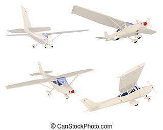 Collage of isolated small airplane - Isolated collection of...