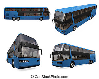 Collage of isolated bus - Isolated collection of blue bus