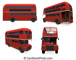 Collage of isolated bus - Isolated collection of red bus