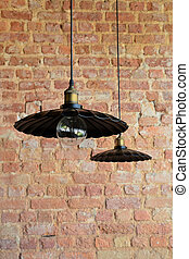 Blank brick wall with lamps