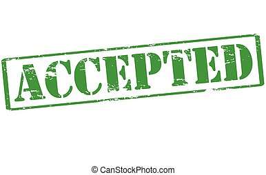 Accepted - Rubber stamp with word accepted inside, vector...