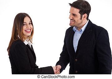 Business man welcoming a women by shake hands on a white...