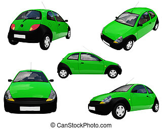 Collage of isolated car - Isolated collection of green car
