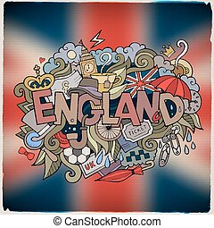 England country hand lettering and doodles elements and...