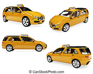 Collage of isolated concept yellow taxi - Isolated...