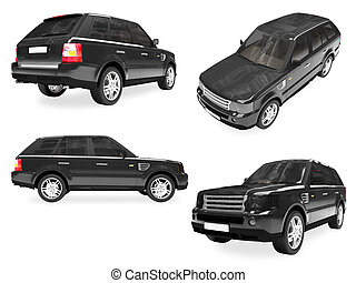 Collage of isolated car - Isolated collection of black car