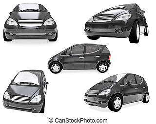 Collage of isolated car - Isolated collection of small car