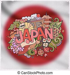 Japan country hand lettering and doodles elements and...