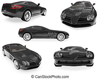 Collage of isolated car - Isolated collection of sport car