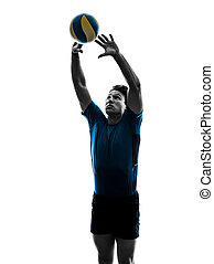 volley ball player man silhouette white background - young...