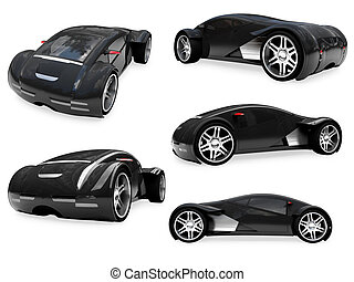 Collage of isolated supreme concept car - Isolated...