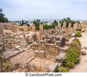 Tunisia. Ancient Carthage. Ancient ruins in district of...