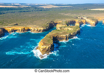 Port Campbell National Park - Aerial view of Mutton Bird...