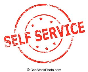 Self service - Rubber stamp with text self service inside,...