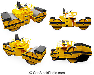 Collage of isolated construction vehicle