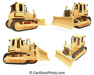 Collage of isolated construction vehicle - Isolated...