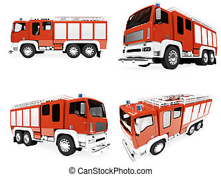 Collage of isolated firetruck - Isolated collection of...