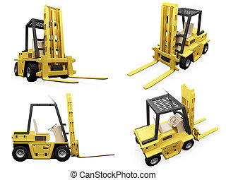 Collage of isolated fork truck - Isolated collection of fork...