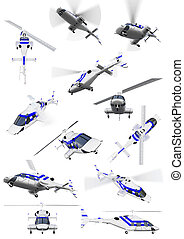 Collage of isolated helicopter - Isolated collection of...