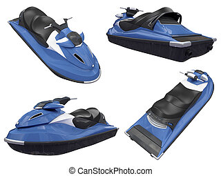 Collage of isolated jetski - Isolated collection of jetski