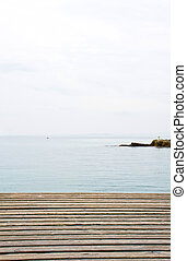 Lake Garda - Veneto - Wooden deck that overlooks Lake Garda...