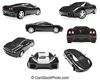 Collage of isolated supreme car - Isolated collection of...