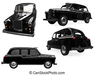 Collage of isolated black taxi - Isolated collection of...