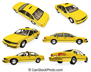 Collage of isolated yellow taxi - Isolated collection of...