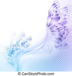 Abstract wave blue purplr background with butterfly -...