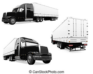 Collage of isolated truck - Isolated collection of truck